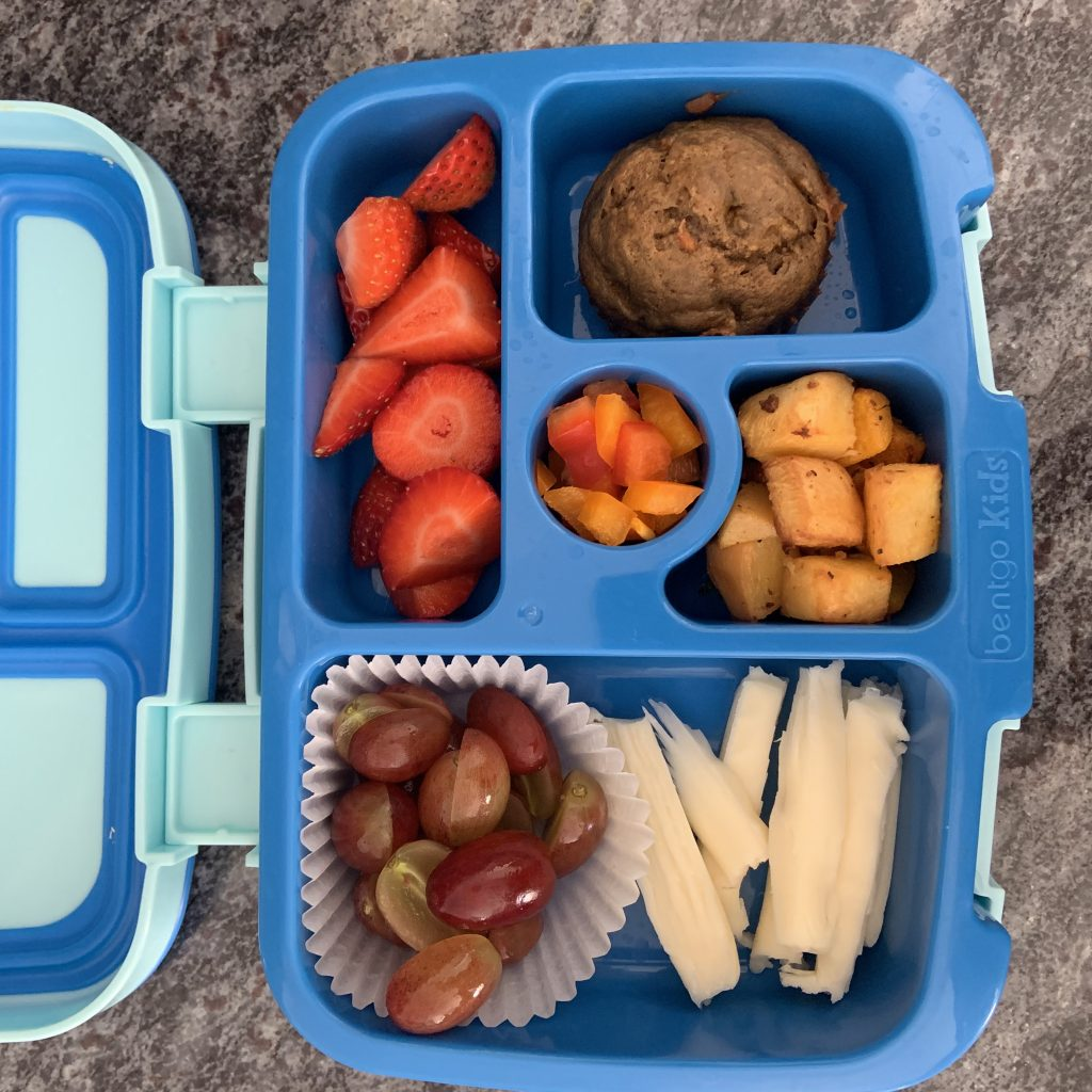 bento box of nut free lunch for preschooler
