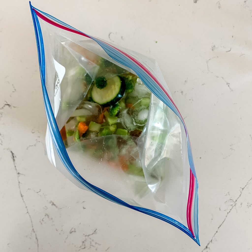 add water to the bag with vegetables