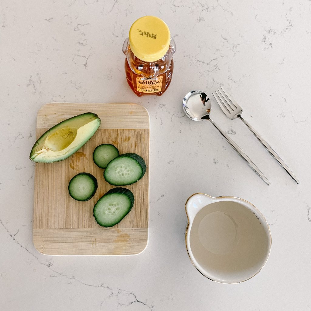 Ingredients for homemade spa mask for kids