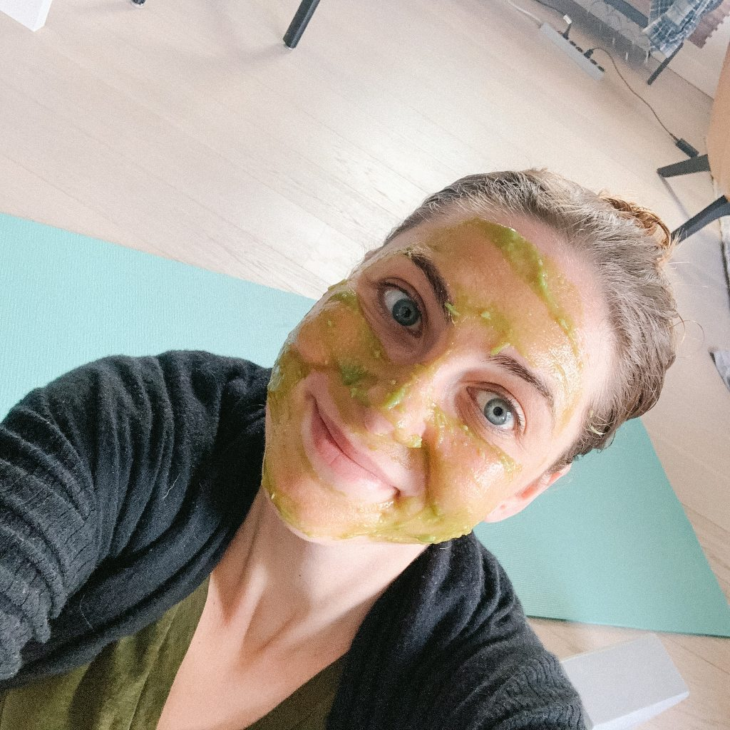 Melissa wearing the homemade spa mask