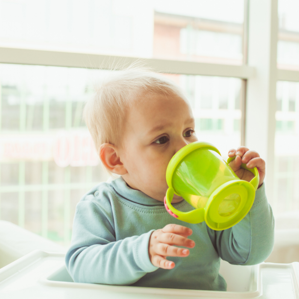 baby and sippy cup