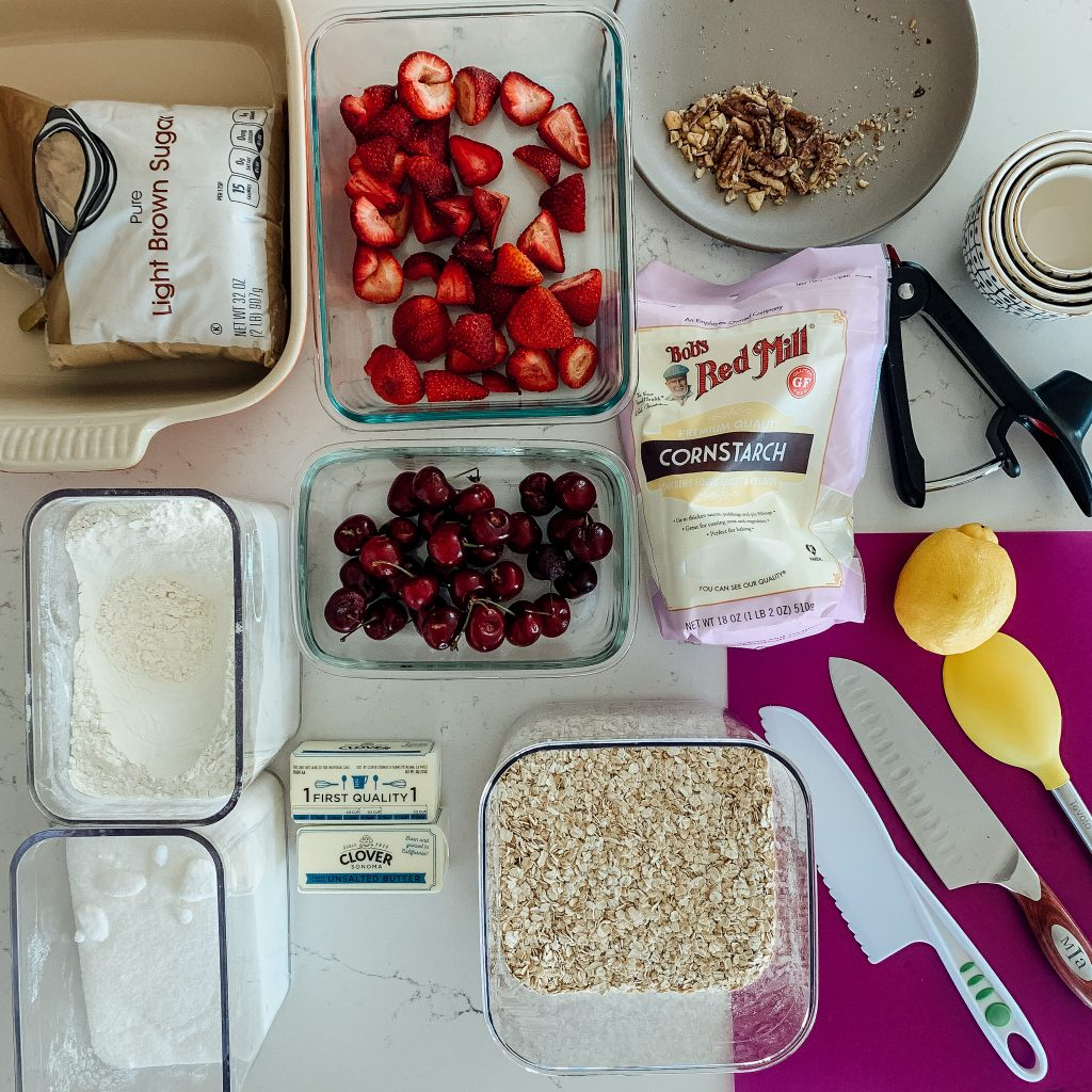Strawberry Cherry Crisp Ingredients Out on the Counter