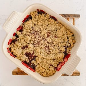 cherry strawberry crisp hot out of the oven