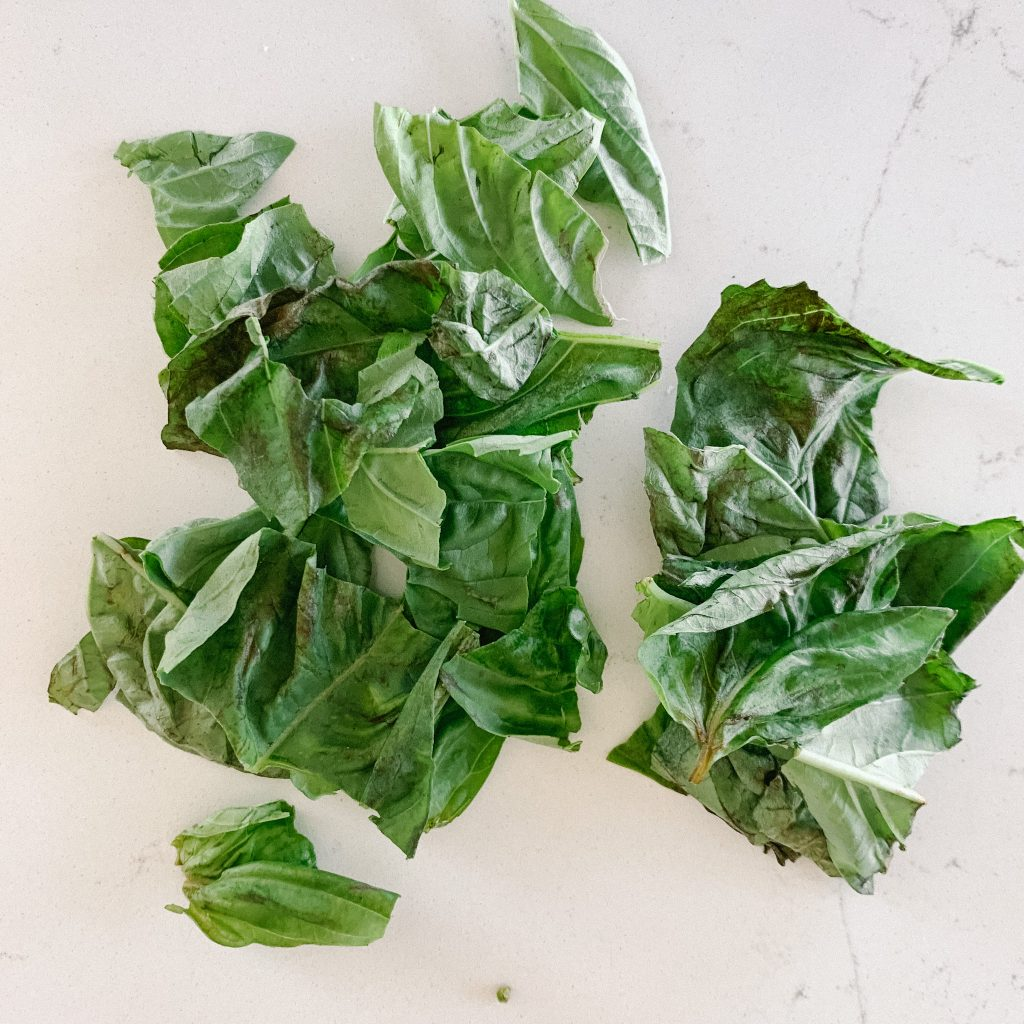 basil that has been torn in pieces
