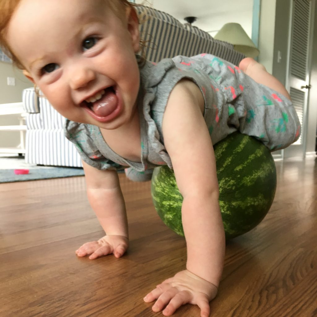 toddler on watermelon