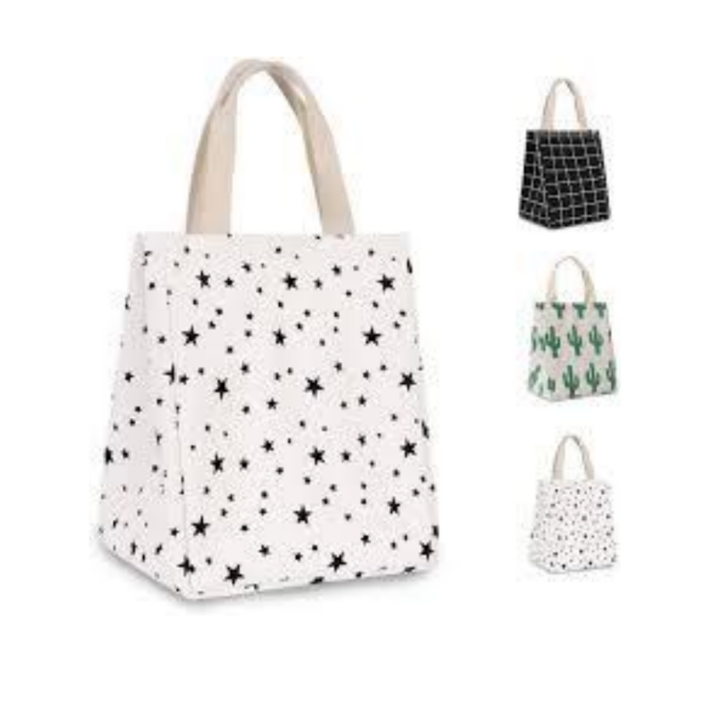 insulated lunch bag with star pattern