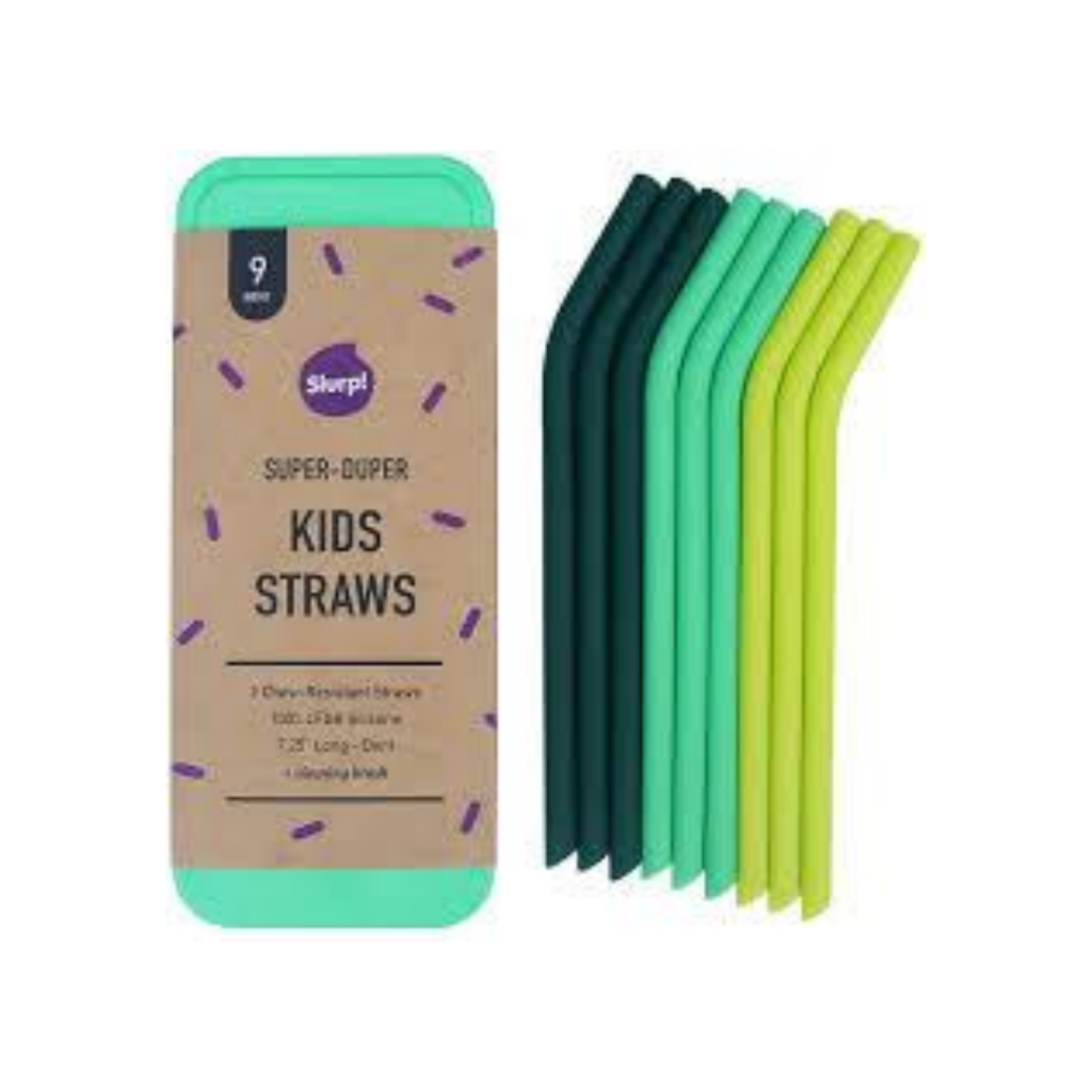 slurp reusable straws in bright greens