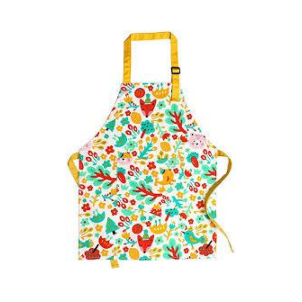 toddler apron with fun woods pattern