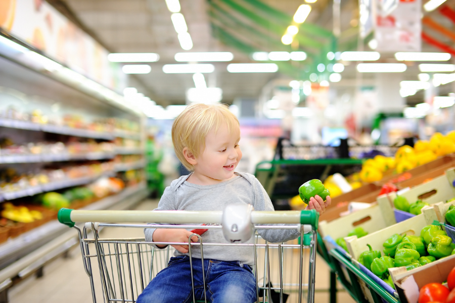 toddler in grocery cart