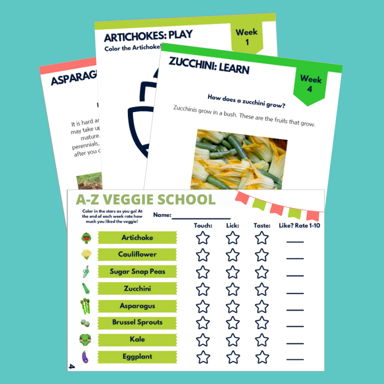 images of veggie school handouts