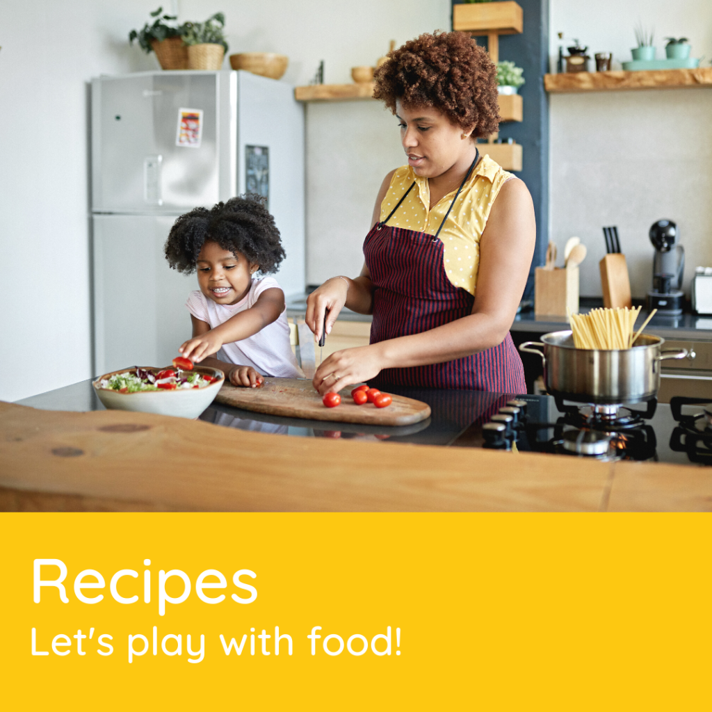 Mom and daughter cooking toddler-friendly recipes