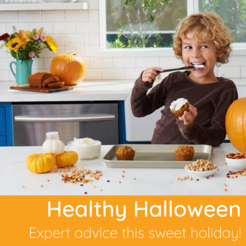 Tips to have a healthy halloween. Boy baking.