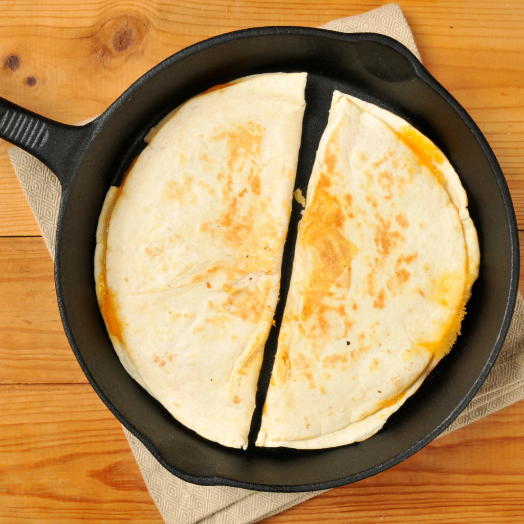 picture of a baleada in a skillet
