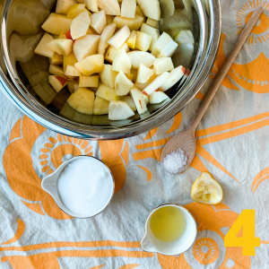 measure out all the apple crisp ingredients.