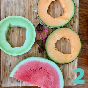 melon cut in 1 inch cross sections and seeds removed